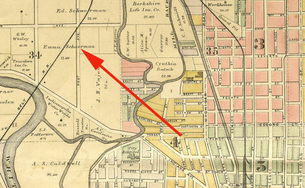 The area that is now known as Kothe & Lieber's Addition to the City of Indianapolis was once owned by the Schürman family    (1889 map of Center Township courtesy of the Indiana State Library)            CLICK TO ENLARGE