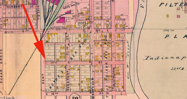 The 1908 Baist Atlas map shows no improvements in the 1700 block of Gent on Lots #73 to #78 in Kothe & Lieber's Addition (map courtesy of IUPUI Digital Archives) CLICK TO ENLARGE