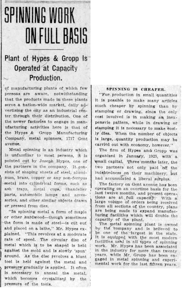 September 6, 1926 Indianapolis Star article described the metal spinning business of Hypes and Gropp