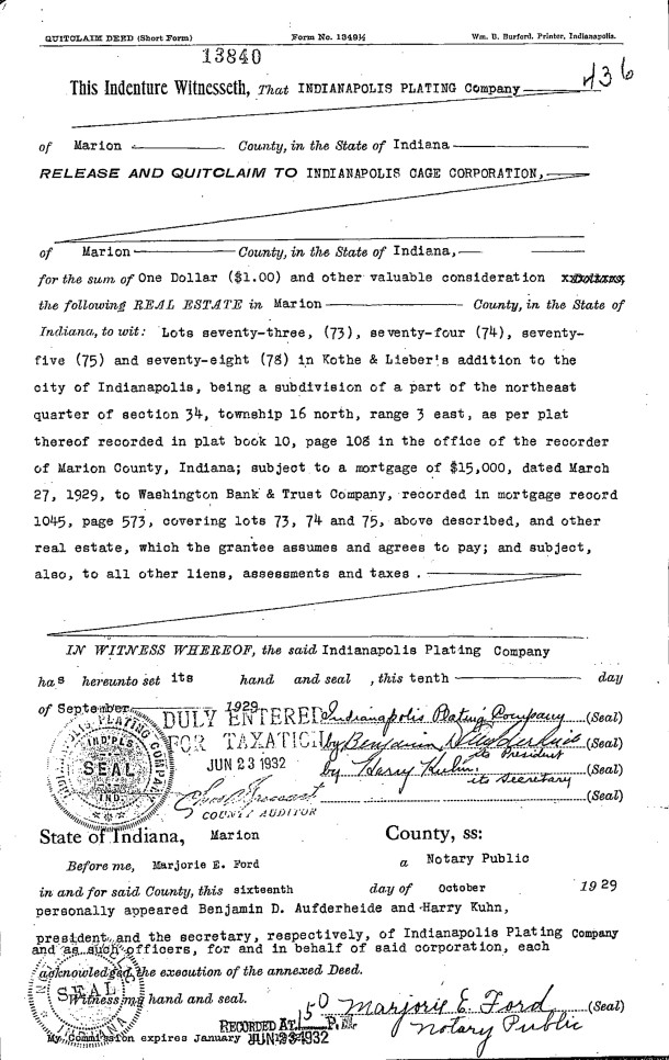 October 16, 1929 deed from Indianapolis Plating Company to Indianapolis Cage Company  (image courtesy of First American Title Insurance Co.)