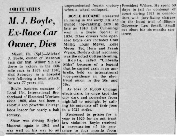 May 19, 1958 Indianapolis Star obituary for Mike Boyle