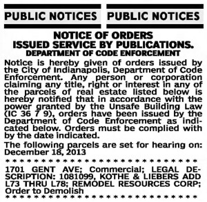 December 7, 2013 notice in The Indianapolis Star