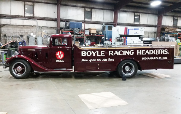 "Recently restored 1934 Diamond T 211FF ""race car hauler"" custom built for Mike Boyle by Gudelhoffer Wagon Works (2016 photo by John Pappas)"