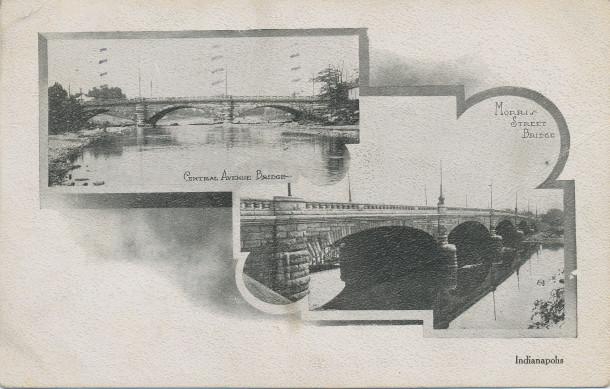 Central Avenue and Morris Street Bridges (image: http://www.digitalindy.org/cdm/compoundobject/collection/postcard/id/35/rec/9)
