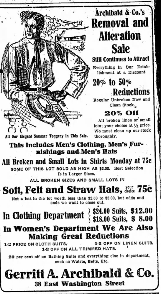Gerritt Archibald offered hats to keep you in the shade under the hot July sun. (Courtesy Indiana State Library)