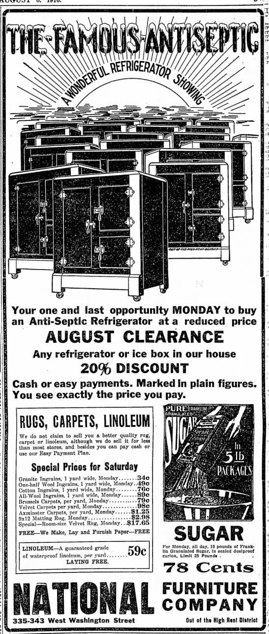 In 1916, there is a good chance you didn't have electricity, let alone refrigerators! The first electric home refrigerator was still more than 10 years away. (Courtesy Indiana State Library)