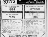 This 1936 shows the great deals that could be had a Monarch Buick, a staple along north Meridian Street for nearly forty years. (Courtesy Indiana State Library)