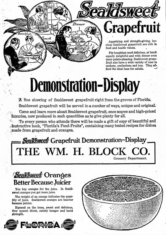 This 1920 ad offered assistance on how to serve the exotic grapefruit. (Courtesy Indiana State Library)