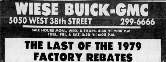 By 1979, Wiese Buick was operating on the popular West 38th Street shopping strip. Courtesy Indiana State Library)