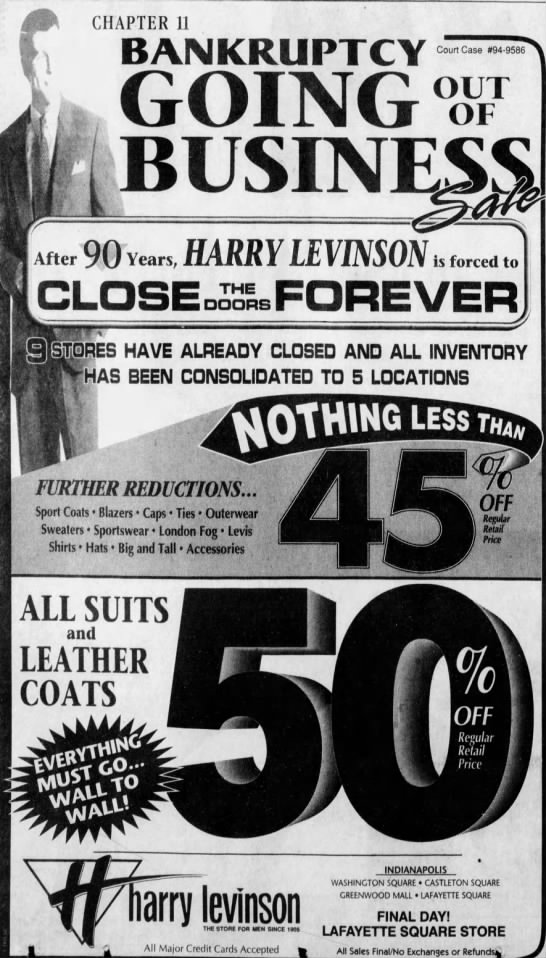 A final farewell to its customers, Harry Levinson closed their remaining stores at the Indianapolis malls in early 1995.(Courtesy Indiana State Library)