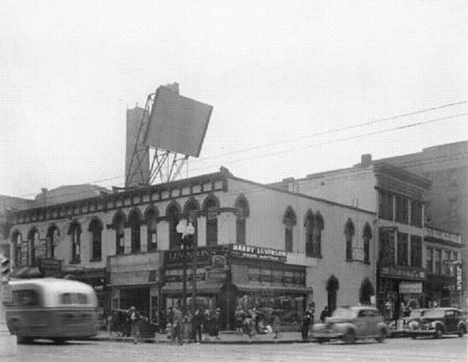 This 1938 image shows the downtown flagship store located at Illinois and Market where Market Tower now stands. The store was a few doors south of the Lyric Theater (Courtesy Bass Company photo collection, Indiana Historical Society)