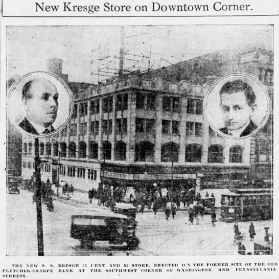 The new Kresge store stood at the prominent corner of Washington and Pennsylvania Streets. (Courtesy Indiana State Library)