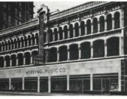 The Wilking Music Company moved to new digs along Pennsylvania Street in 1946. The facade from the long-demolished Vajen Block was saved and incorporated into Circle Centre Mall along  south Meridian. (Courtesy Library of Congress)