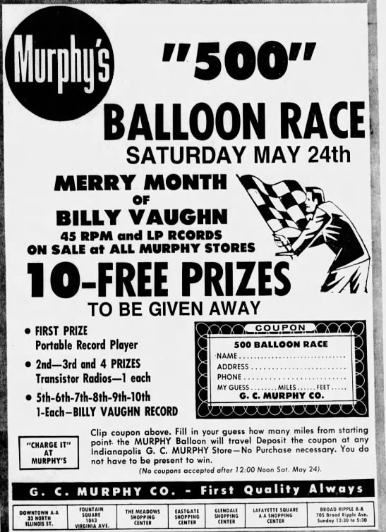 This 1969 ad focuses on the Indy 500. Murphy was a sponsor of race entries throughout the 50's and 60's. (Courtesy Indiana State Library)
