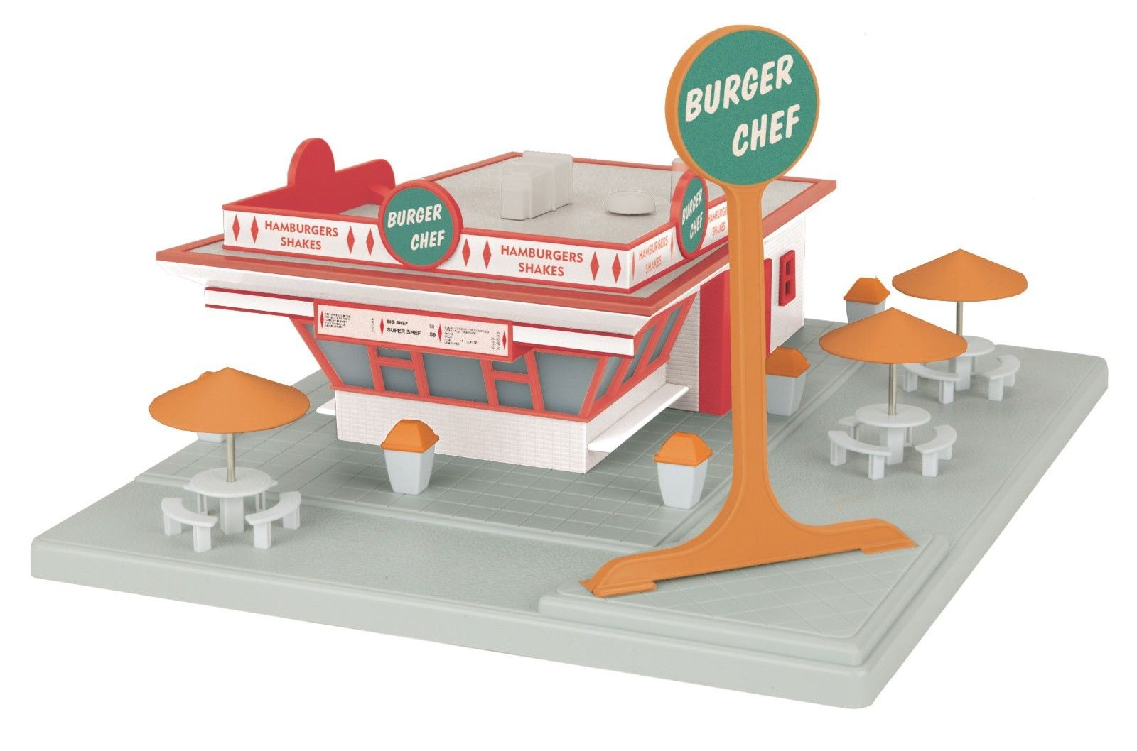 Merchandising was a key component to the success of Burger Chef. You could even have your location along your H-O scale railway! (Courtesy eBay)