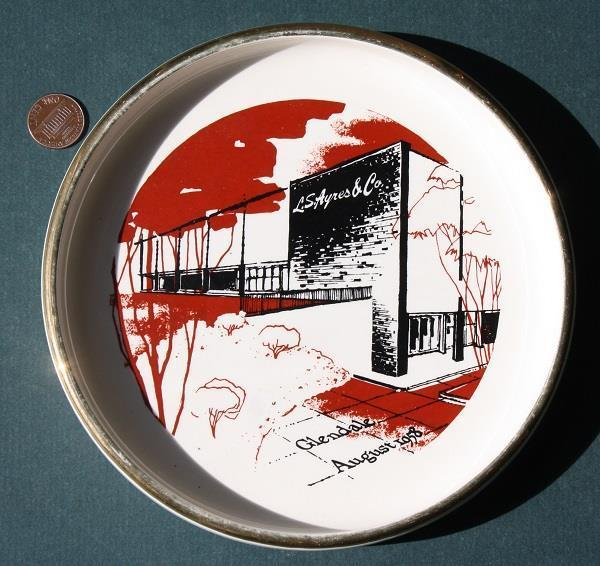 A souvenere ashtray celebrating the opening of L.S. Ayres at Glendale in 1958. (Courtesy eBay)