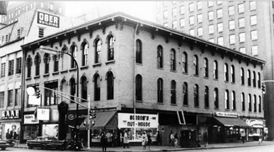 This building was demolished in 1964 and replaced with a modern two story office building. Morrow's moved south to 4 South Pennsylvania. (Courtesy Bass Photo Company Collection, Indiana Historical Society)