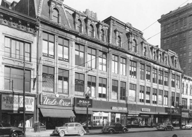 This is what the When Building looked like in 1946 just prior to being purchased by Stationers owner C. S. Ober. (Courtesy Bass Photo Company Collection, Indiana State Library)