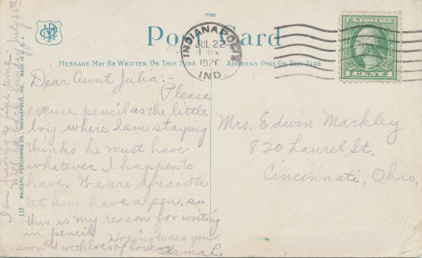 Postmarked July 22nd, 1920