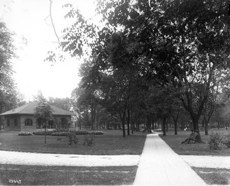 Shelterhouse and walks (Bass Photo Co Collection, Indiana Historical Society)