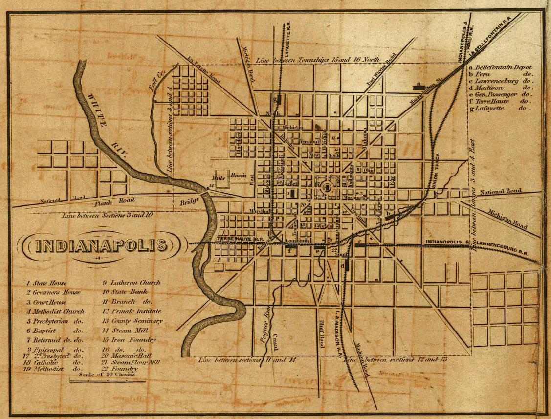 1852 map of Indianapolis