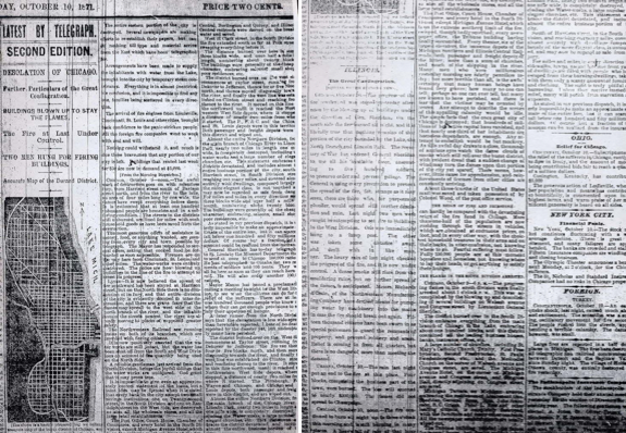 The Great Chicago Fire–article from The Indianapolis Evening News