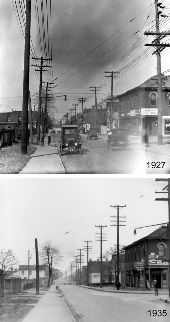 College Avenue looking north, 1927 and 1935 (Courtesy of Deedee Davis)