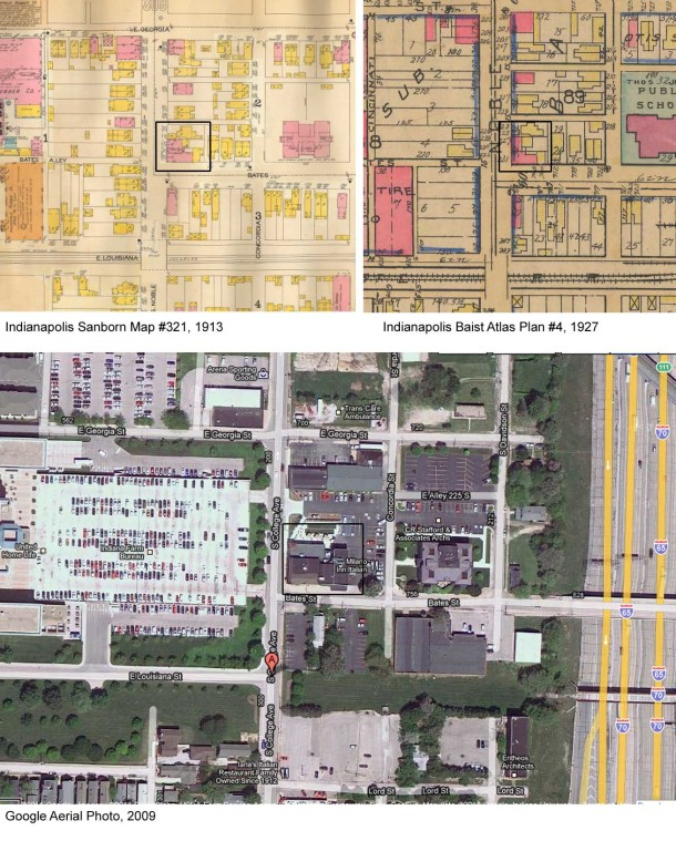 Google Street View and fire insurance maps (courtesy of IUPUI University Library)