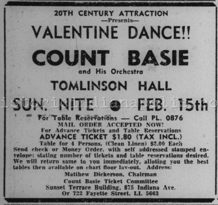Sunday Ads: Valentine's Dance 1953 Count Basie at Tomlinson Hall