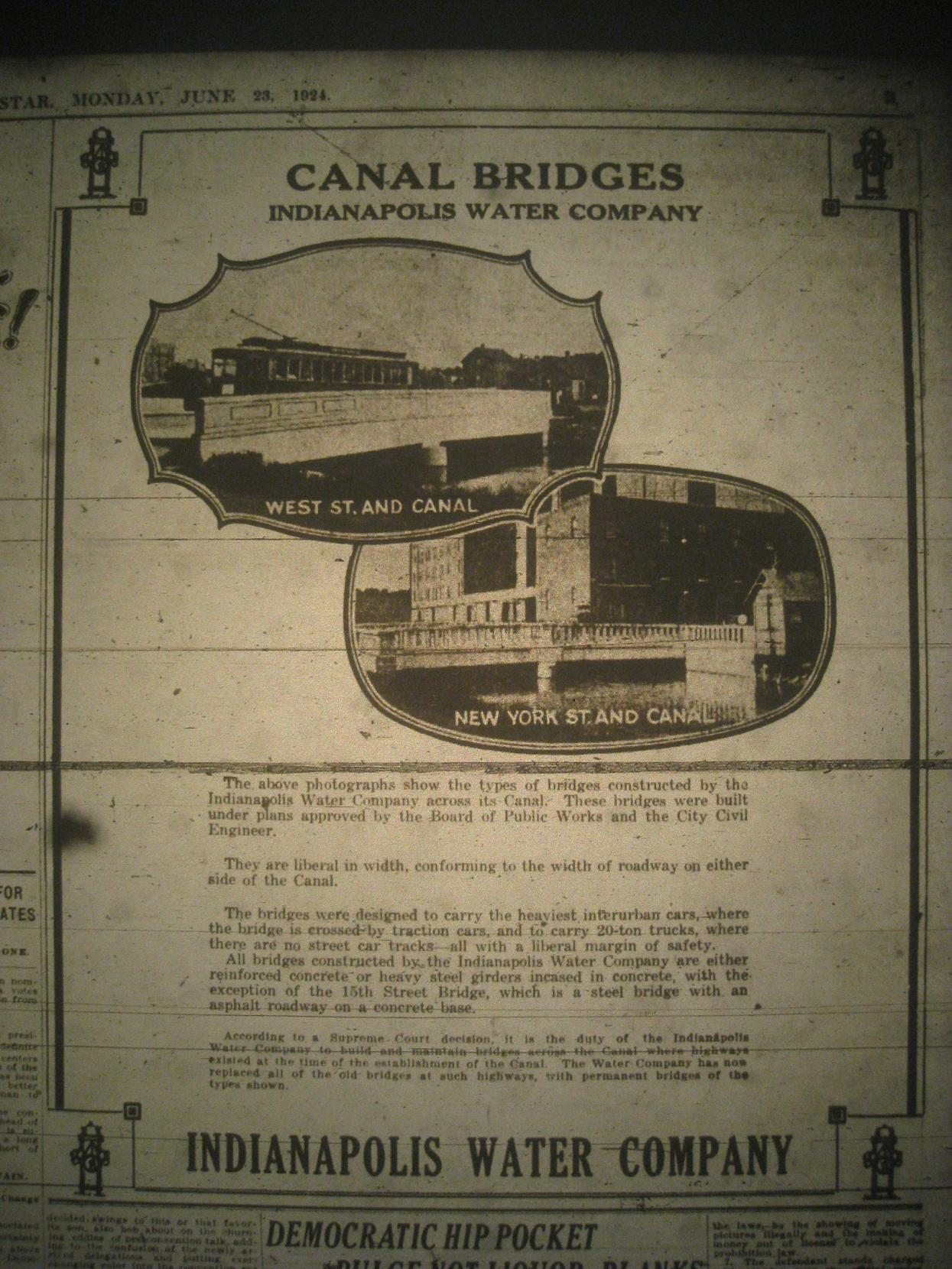 Sunday Adverts: Indianapolis Water Company – Canal Bridges