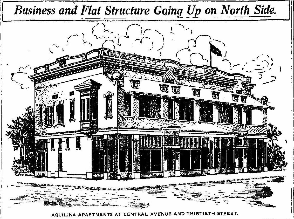 Indianapolis Then and Now: W. E. Mick Building and Aquilina Apartments, Central Avenue and East 30th Street