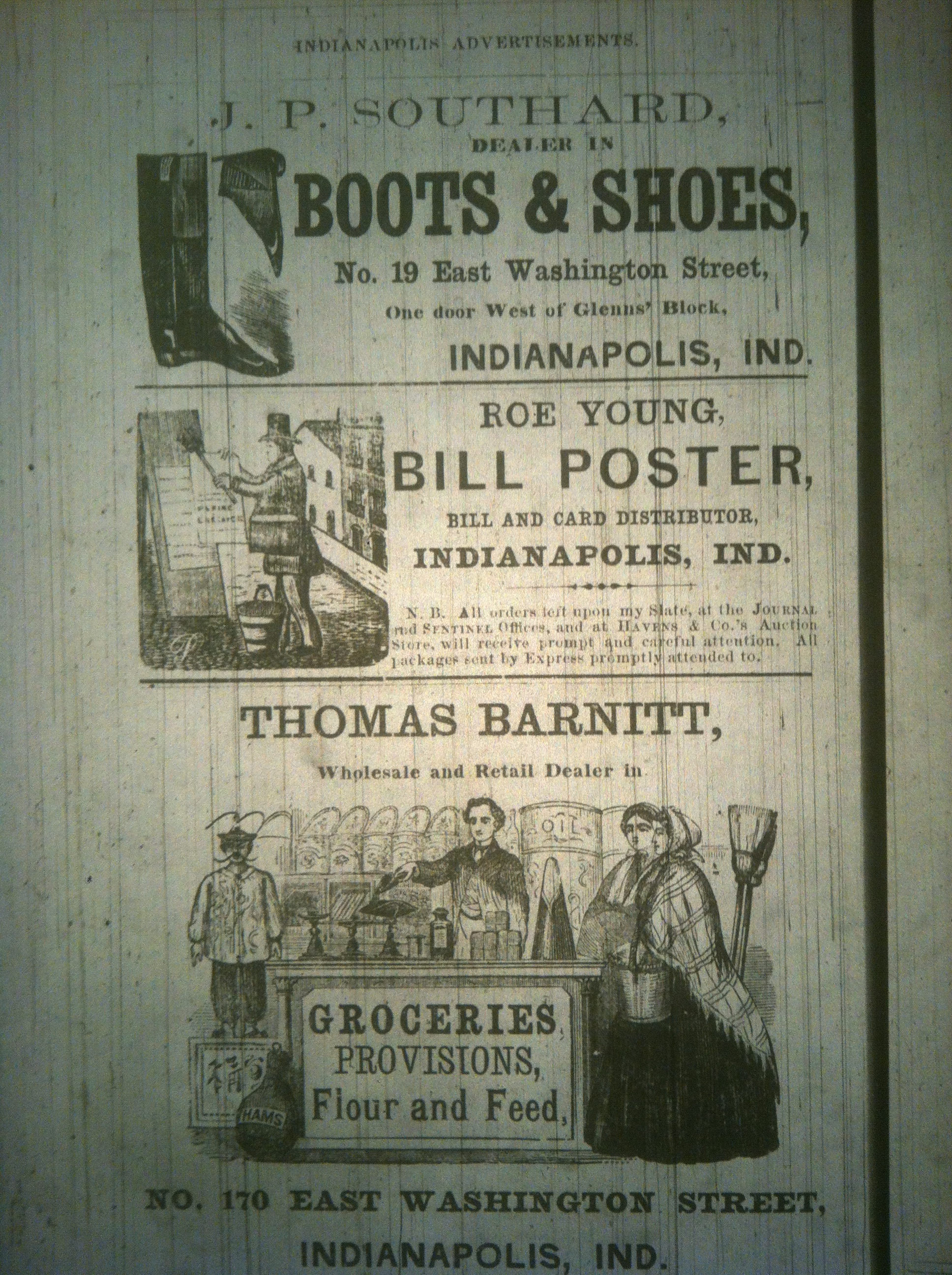 Sunday Ads: 150 Years Ago of Boots, Groceries and Promotional Posters