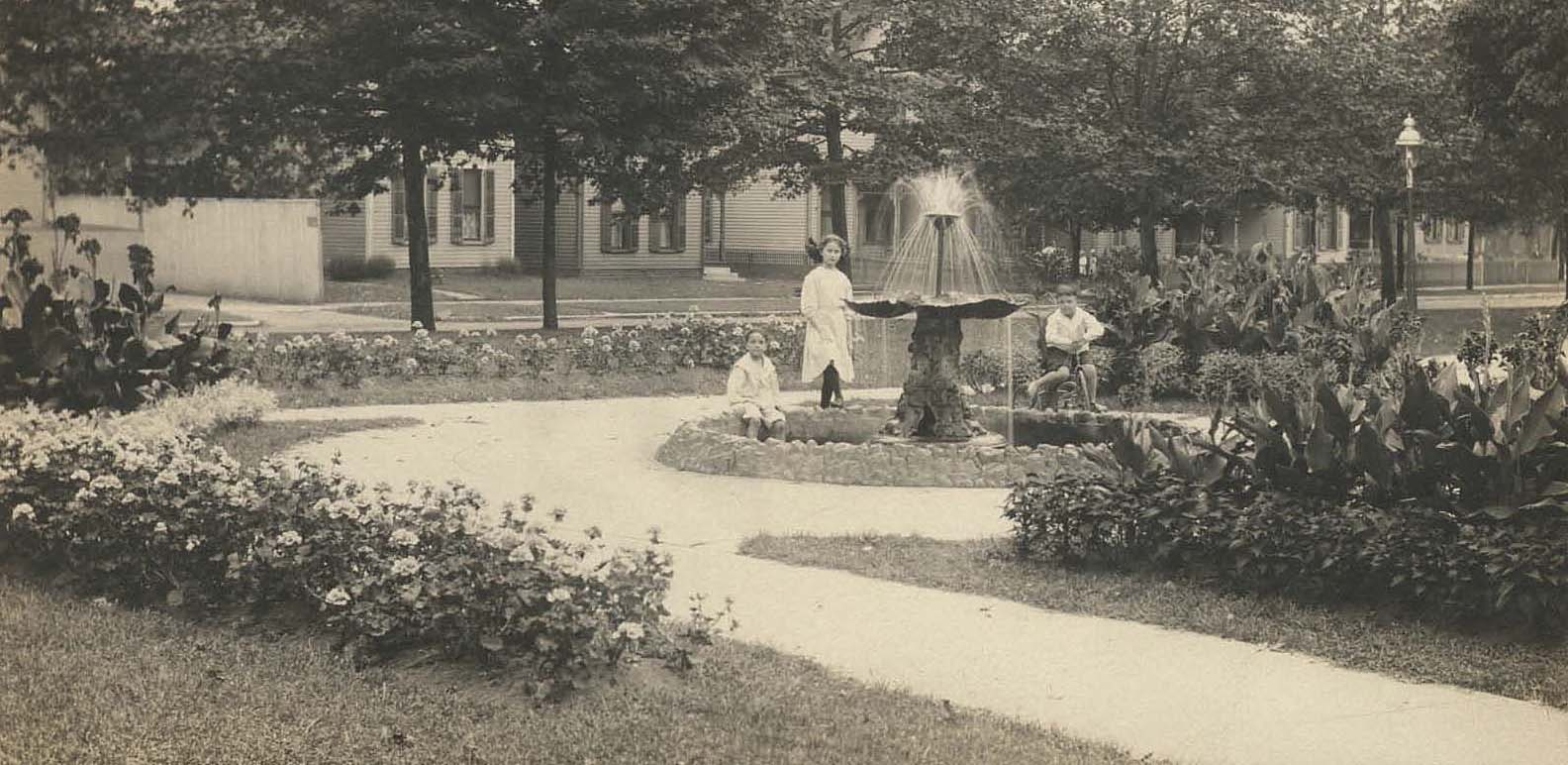 Indianapolis Then and Now:  Fletcher Triangle Park Brookside and Arsenal Avenues