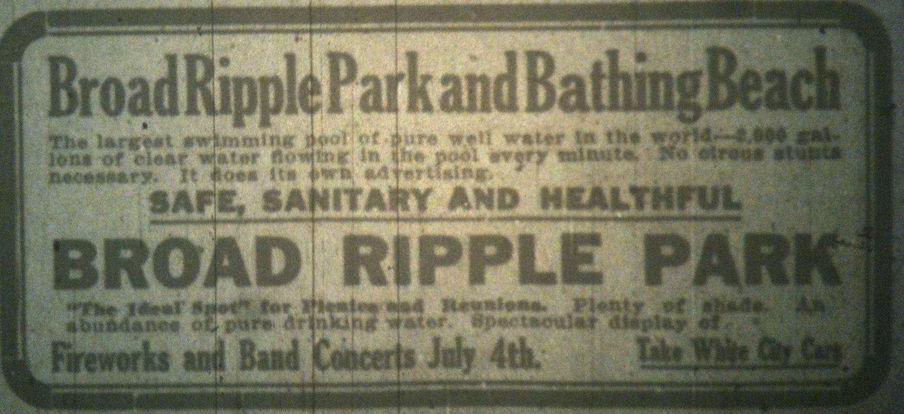 Sunday Adverts: Come cool down in Broad Ripple Park in 1910