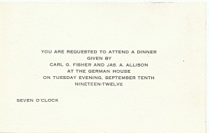 Fisher and Allison's 1912 invitation