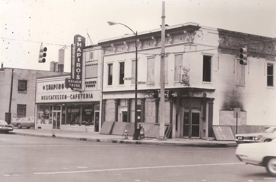 Indianapolis Then and Now: Passo Pharmacy and Shapiro's Delicatessen & Cafeteria, 802 and 808 S. Meridian Street