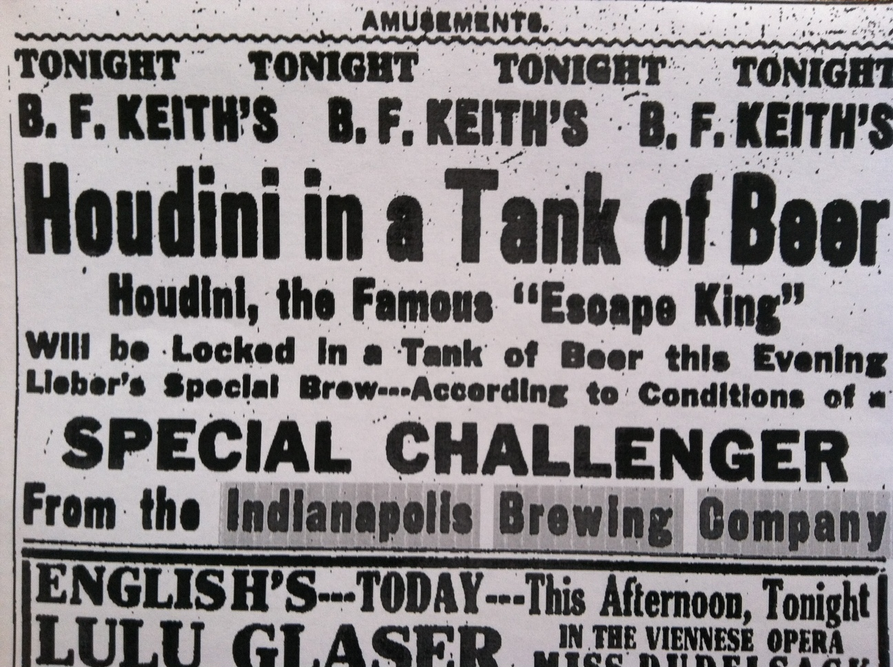 Sunday Ads: Houdini in Beer?