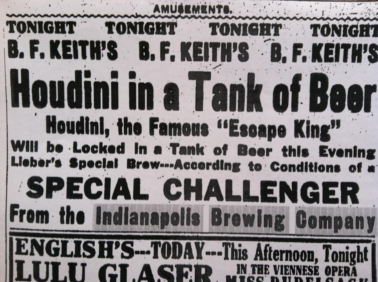 Sunday Ads: Houdini in Beer?