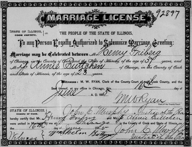 Marriage Certificate for Annie Buttchen