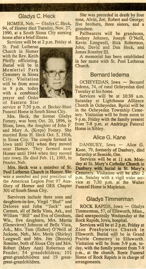 Gladys Heck Obituary