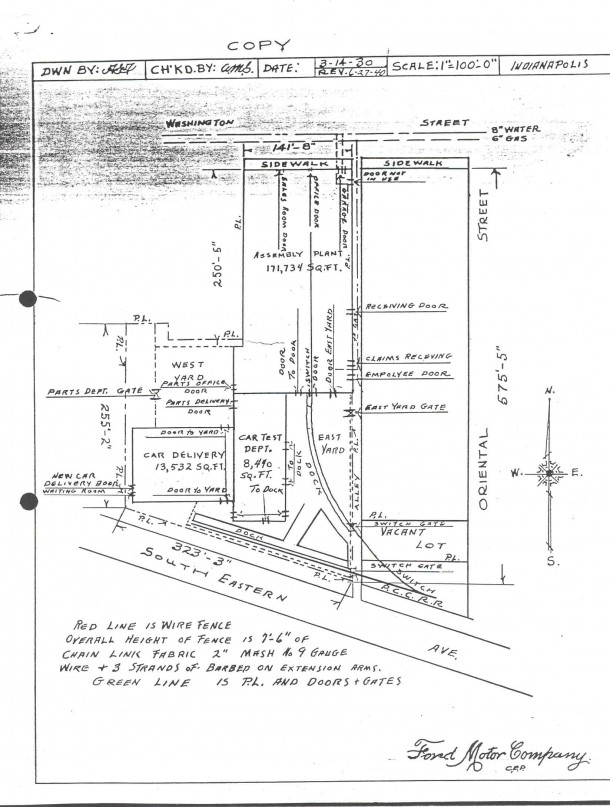 Ford Indianapolis Assembly Branch Site Plan 1930