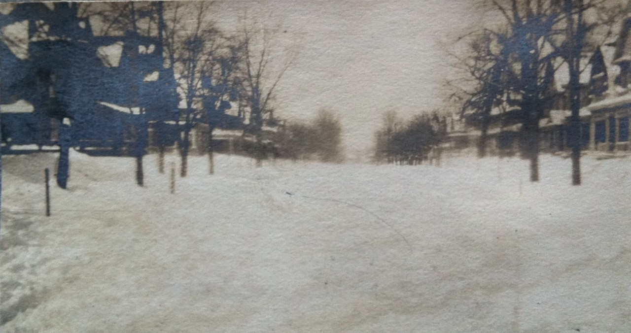 Then and Now: 19th and Delaware, Snowy