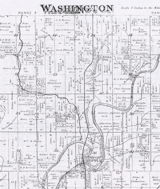 Am 1889 map of Washington Township indicates the owners at that time, J. H. and M. Campbell