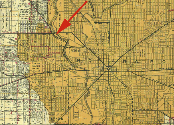 The red arrow on the 1931 Wagner map points to the Lohrmann property (courtesy of Indiana State Library)