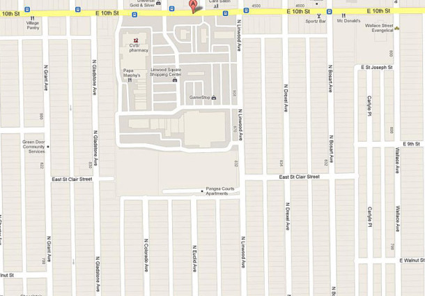 2013 Google street map of Linwood Square and the area around it