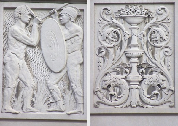Two of the carved limestone reliefs that decorate the outside of the building. The left is of two Roman-style soldiers in combat. The right includes a bowl of fruit and griffin heads. (Photos by Dawn Olsen)