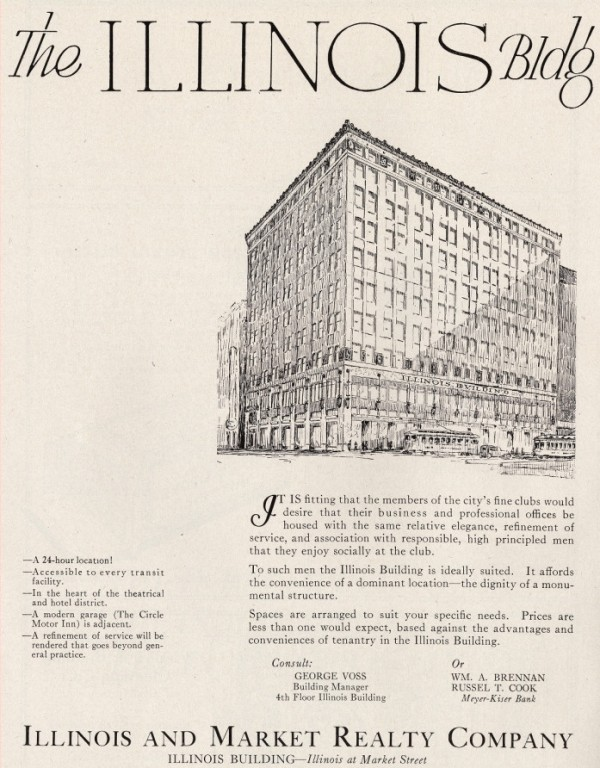 An advertisement from 1925 promotes the Illinois Building as one of refinement. One of the amenities listed for the building is a modern garage (seen in the above Sanborn map). (Photo © 2008 Indiana Historical Society)