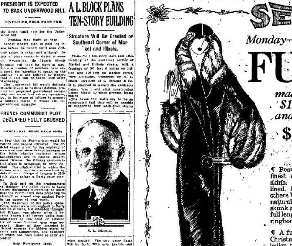An Indianapolis Star article published Dec. 7, 1924, discusses the construction of the Illinois Building. The article, seen in the middle, features the image of L. Strauss & Company president A.L. Block, who announced the construction.