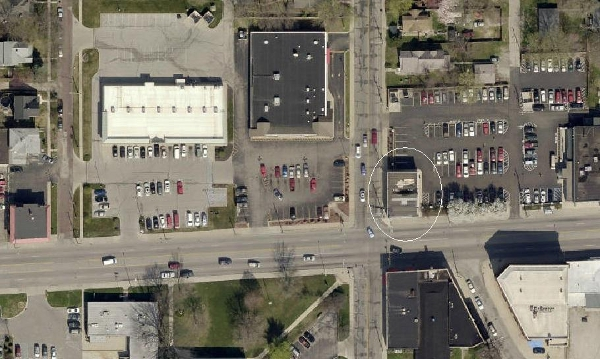 This 2012 satellite image provided by MapIndy shows the changes on both the 5400 and 5500 blocks of East Washington. Several buildings have been leveled to make room for parking lots.