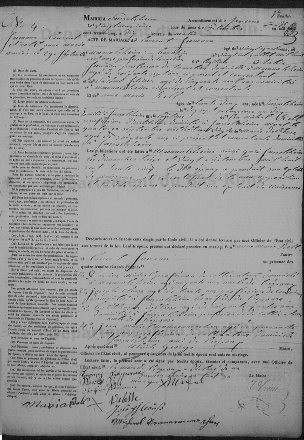 A marriage record from 1835 found at the Departmental Archives of the Lower Rhine.